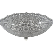 """Vintage Pressed Glass Footed 9"""" Oval Bowl / Center Piece"""