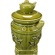 Enesco Light Green Teapot on Barrel Jar