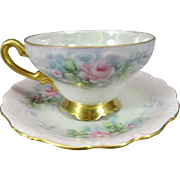 Vintage Pearl Styled Footed Teacup & Saucer with Gold Trim