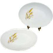 Anchor Hocking Set of 2 Fire King Oval Serving Platters with Wheat Design