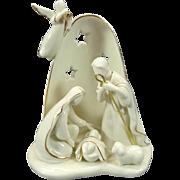 Avon Porcelain White Nativity Scene With Gold Trim