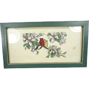 Framed Needlepoint Picture of Two Birds On a Branch