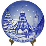 Bareuther Bavarian Porcelain Christmas The Old Forge In Rothenburg Plate 1990