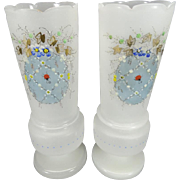 "Pair Of 11"" Frosted Satin White Vases With A Unique Hand-Painted Design"