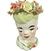 Lady Head Vase Adorned in Floral Hat