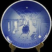 Bing & Grondahl White Christmas Decorative Blue Porcelain Plate Circa 1979