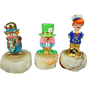 Clown Figurines x 3 Made of Cast Metal Hand Painted and Mounted to an Onyx ...
