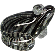 Large Glass Frog Figurine Heavy With Black Stripes