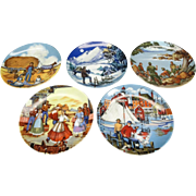 """Avon American Portraits Plate Collection 4 1/4"""" Coasters x 5 by Don W. Sheffler ..."""