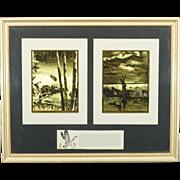 Vintage R.H. Palenski Gold Etching Picture Framed 2 Outdoor Scenes