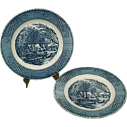Royal Currier & Ives Vintage The Old Grist Mill Dinner Plate Set of 2 c. 1950's