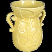 Shawnee yellow ceramic flower vase with handles c. 1940's  model #805