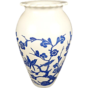 """Anchor Hocking Milk Glass  9"""" Vase with Blue flowers and Birds"""