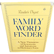 1977 Reader's Digest Family Word Finder Dictionary/Thesaurus Hard Cover Reference Book