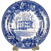 "Vintage 1899 Wedgwood England Blue & White ""Longfellow's Early Home""  9.25"" Col"