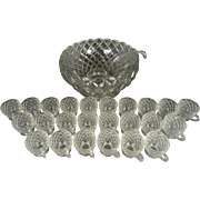 Williamsburg Pattern 37 Piece Crystal Punch Bowl Set by Tiffin-Franciscan