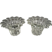Set of 2 Decorative Glass Candlestick Holders Made in Italy