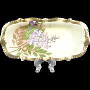 Vintage Prussia Hand Painted Rectangular Relish Celery Dish Purple Flowers Gold Trim