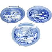 "Currier and Ives 3 x Porcelain Decorative 8"" Wall Plates c. 1970s"