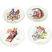 "Norman Rockwell Set of 4 Collectors 6 1/8"" Plates The Four Seasons c. 1970s"