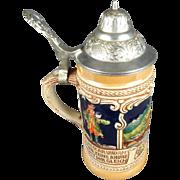 SOLD Vintage Gerz W.Germany Lidded Pewter Beer Stein Heidelberg City