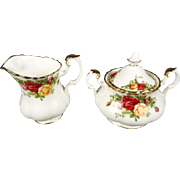 Royal Albert Old Country Roses China Creamer & Sugar Bowl with Lid