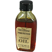 Keystone Projector Lubricating Oil Full Bottle in Original Box c. 1940s