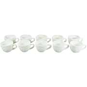 Vintage McKee Milk Glass Punch Cups Set of 10 Concord Pattern c. 1960s