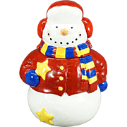 Vintage Hand-painted Snowman Cookie Jar
