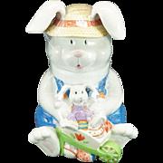 CKAO Ceramic Easter Bunny Cookie Jar