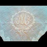 "SALE Gorgeous Irish Linen Ladies Monogrammed ""M"" Handkerchief (Hanky)"