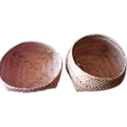 SALE Old Shaker Thin Splint Primitive Thread Baskets - Set of Two