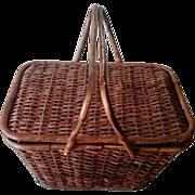 SALE Antique Primitive Picnic Basket with Bentwood Handles