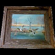 SALE American Artist, Shirley McDaniel Original Oil on Canvas in Barn Wood Frame