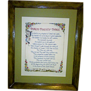 SALE Vintage Psalm Twenty Three - The Lord Is My Shepherd - Needlepoint Sampler