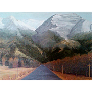 "SALE ""Road To The Mountains"" Fall Landscape Framed Oil on Board Painting"