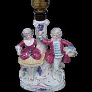 SALE Elegant French Boudoir Glazed Porcelain Figural Lamp of Dancing Couple