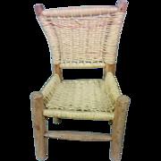 SALE Primitive Hand Carved & Pegged Cedar & Rush Americana Child's Chair