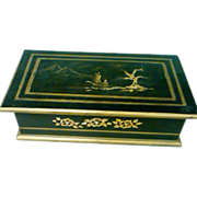 SALE Vintage Wood Document Box with Hand Painted Oriental Design