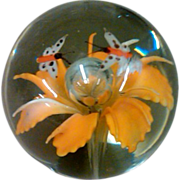 SOLD Murano Art Glass Paperweight with Encased Flower & Butterflies