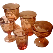 SALE Vintage Indian Glass Amber Beverage Glassware Set - 39 Pieces