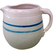 Vintage Double Blue Band Salt Glaze Stoneware Crock Milk Pitcher Jug