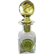 SALE Art Glass Hand-Blown Scent Perfume Bottle with Beautiful Medallion