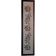 Lovely Birds, Owls & Floral Framed Needlepoint Tapestry Under Glass