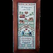 "SALE 1988 Folk Art ""All Things Grow With Love"" Cross-Stitch Framed"