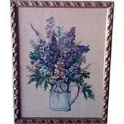 SALE Fabulous Floral Needlepoint in Blues & Purples Framed Under Glass