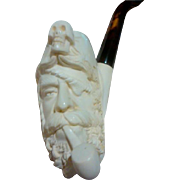 "SALE Hand Carved Meerschaum ""Jack Sparrow"" Type Pirate Pipe - Never Used"