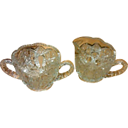 SALE EAPG Brilliant Cut Pattern Large Sugar and Lipped Creamer Set