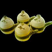 SALE Vintage Neiman Marcus Individual Salt-Glazed Crock Soup Tureens - Set of 4