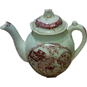 "SALE Staffordshire England ""Little Mae and Newfy"" Red Transferware Child's Teapot"
